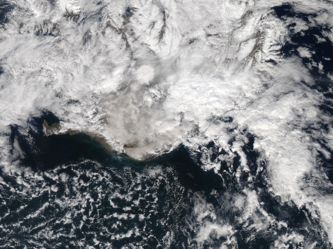 Ash plume from Eyjafjallajokull Volcano in Iceland. Image Courtesy of NASA