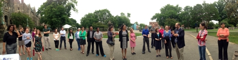 Panorama of the crowd at the Walking Challenge Kick Off Event