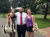 Our Walker of the Week and random raffle prize winners pose (and walk) with Charles