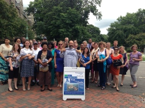 Challenge participants join Charles on Healy Circle for one last photo op at the Closing Celebration