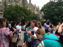Walking Challenge participants cool off with Popsicles at the Closing Celebration