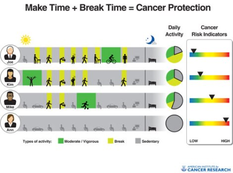 This graphic from the American Cancer Society shows how different amounts of activity influence certain well-known cancer indicators. Many factors influence cancer risk, movement is key to a healthy lifestyle.
