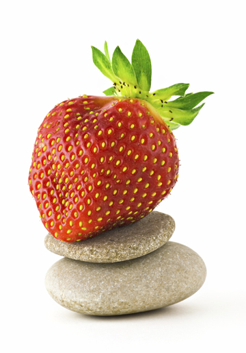 Strawberry on a zen stone, rock like zen